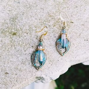 Tranquil Tides- Angel Quartz Artisan Relic Earings